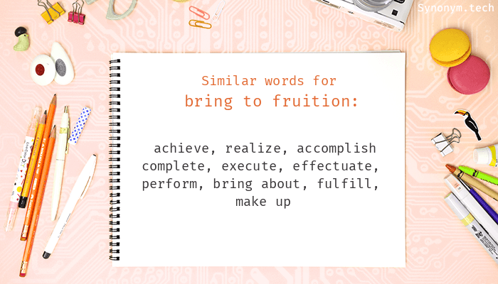 Synonyms for Bring to fruition