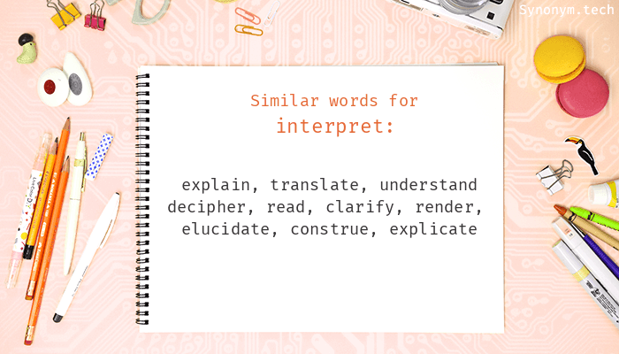 Interpret Synonyms Similar Word For Interpret Synonyms for interpret in free thesaurus. interpret synonyms similar word for