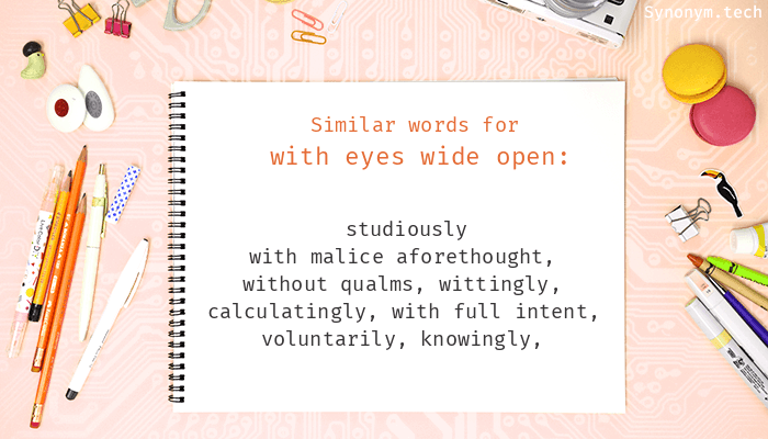 With eyes wide open Synonyms. Similar word for With eyes wide open.