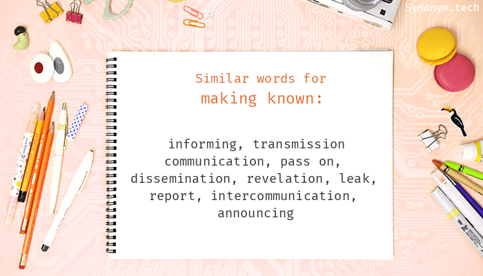 Making known Synonyms