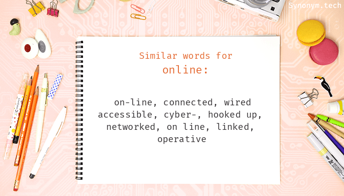 Online Synonyms. Similar word for Online.